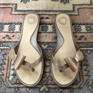 Melissa gold glitter bow sandals size 7